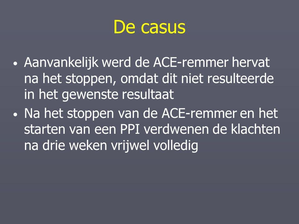 De casus Aanvankelijk werd de ACE-remmer hervat na het stoppen, omdat dit niet resulteerde in het gewenste resultaat Na het stoppen van de ACE-remmer