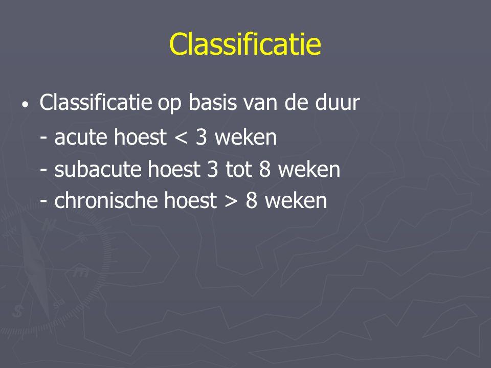 Classificatie Classificatie op basis van de duur - acute hoest < 3 weken - subacute hoest 3 tot 8 weken - chronische hoest > 8 weken