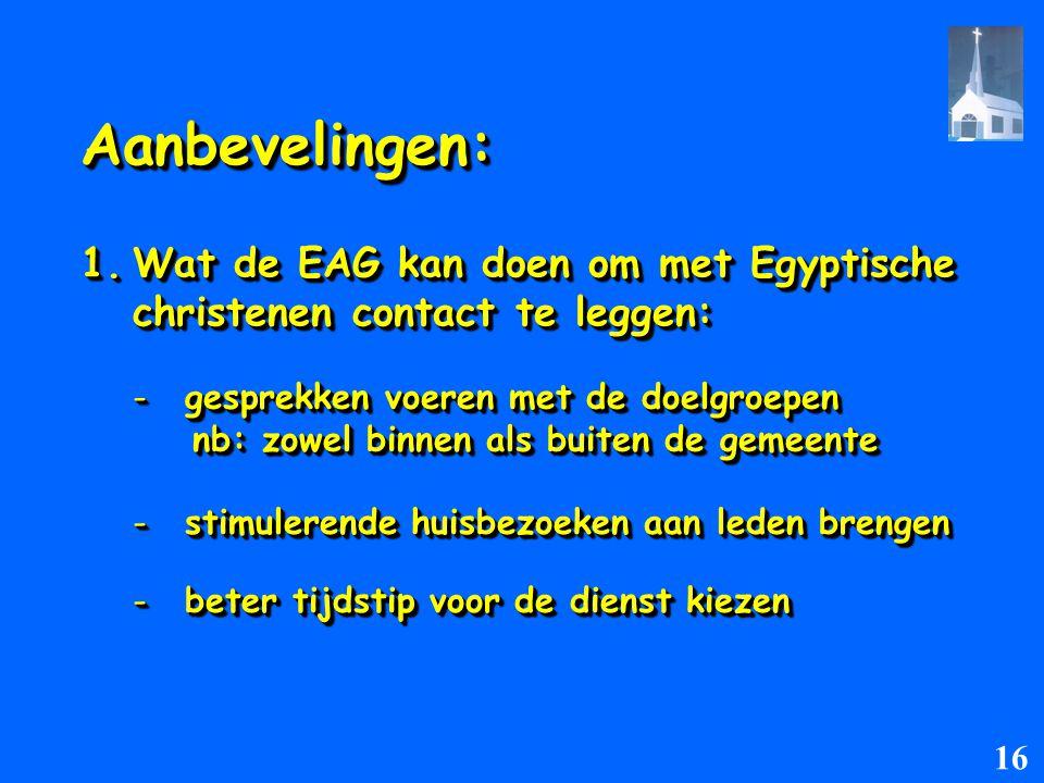 Aanbevelingen:Aanbevelingen: 1.Wat de EAG kan doen om met Egyptische christenen contact te leggen: christenen contact te leggen: 1.Wat de EAG kan doen