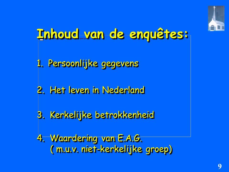 Inhoud van de enquêtes: 1. Persoonlijke gegevens 2. Het leven in Nederland 3. Kerkelijke betrokkenheid 4. Waardering van E.A.G. ( m.u.v. niet-kerkelij