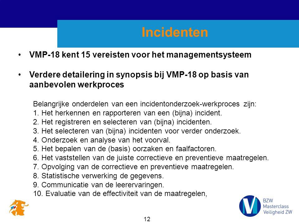 12 Incidenten VMP-18 kent 15 vereisten voor het managementsysteem Verdere detailering in synopsis bij VMP-18 op basis van aanbevolen werkproces Belangrijke onderdelen van een incidentonderzoek-werkproces zijn: 1.