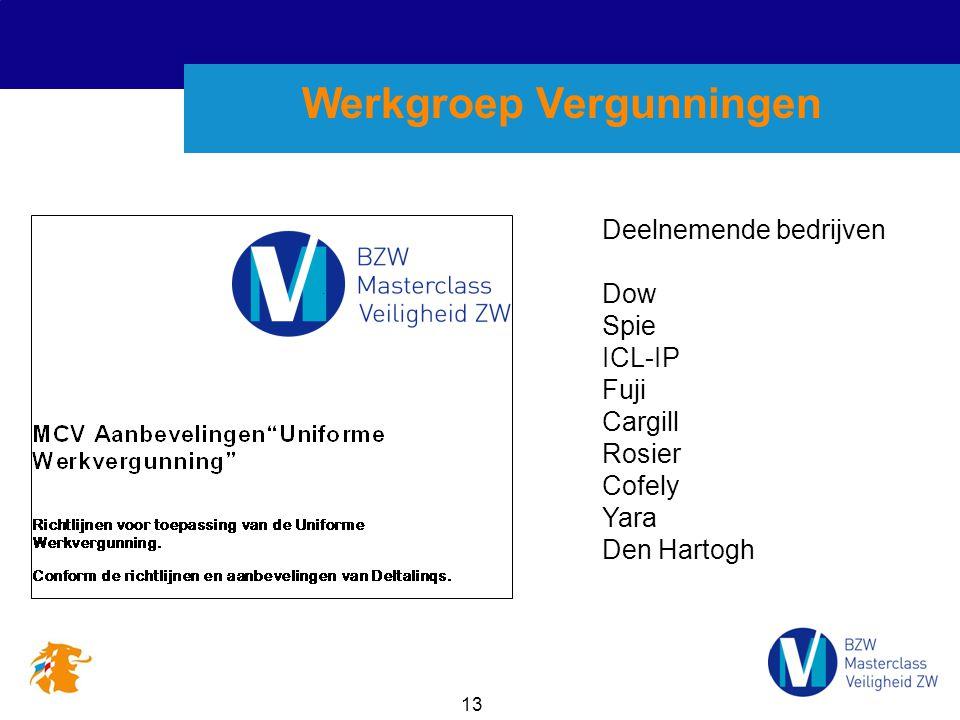 13 Werkgroep Vergunningen Deelnemende bedrijven Dow Spie ICL-IP Fuji Cargill Rosier Cofely Yara Den Hartogh