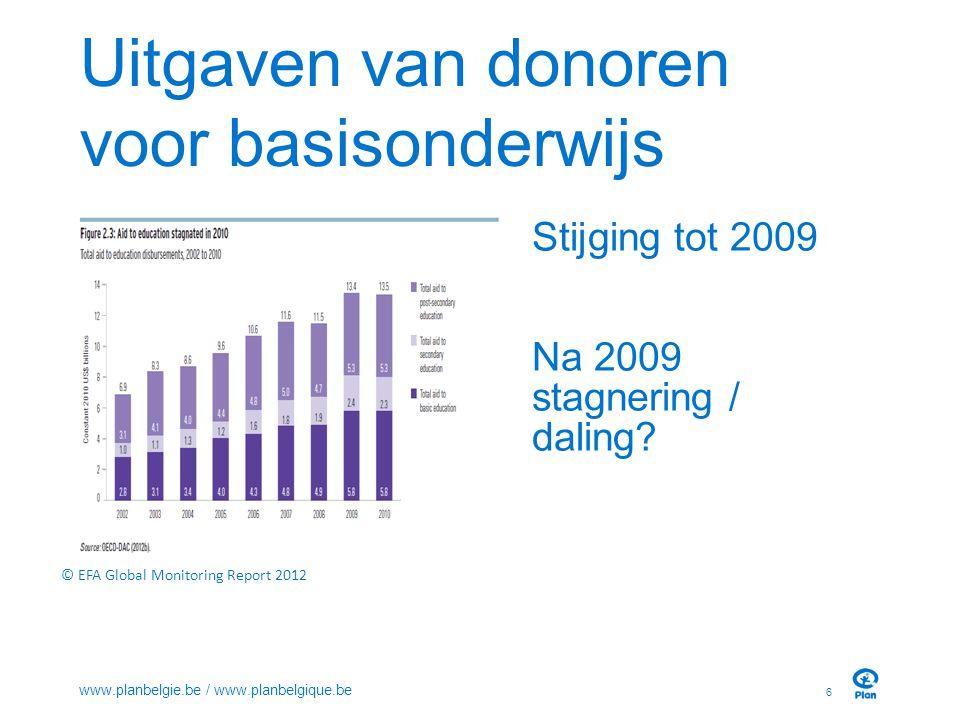 Uitgaven van donoren voor basisonderwijs Stijging tot 2009 Na 2009 stagnering / daling? 6 www.planbelgie.be / www.planbelgique.be © EFA Global Monitor