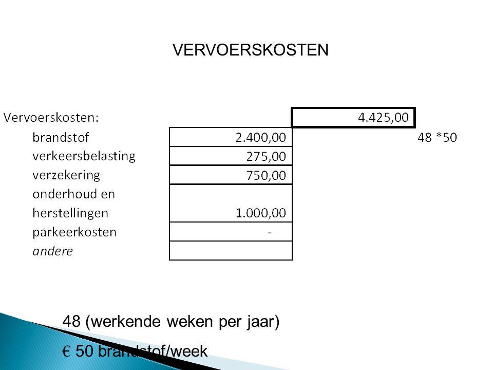VERVOERSKOSTEN 48 (werkende weken per jaar) € 50 brandstof/week