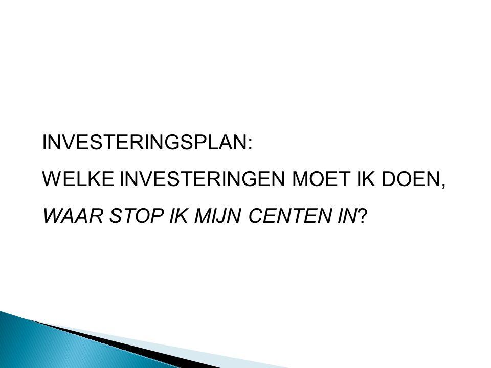 INVESTERINGSPLAN: WELKE INVESTERINGEN MOET IK DOEN, WAAR STOP IK MIJN CENTEN IN?