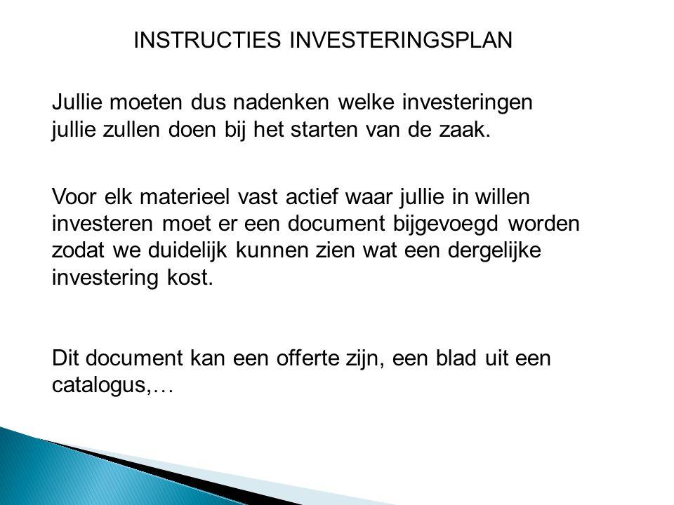 Jullie moeten dus nadenken welke investeringen jullie zullen doen bij het starten van de zaak.