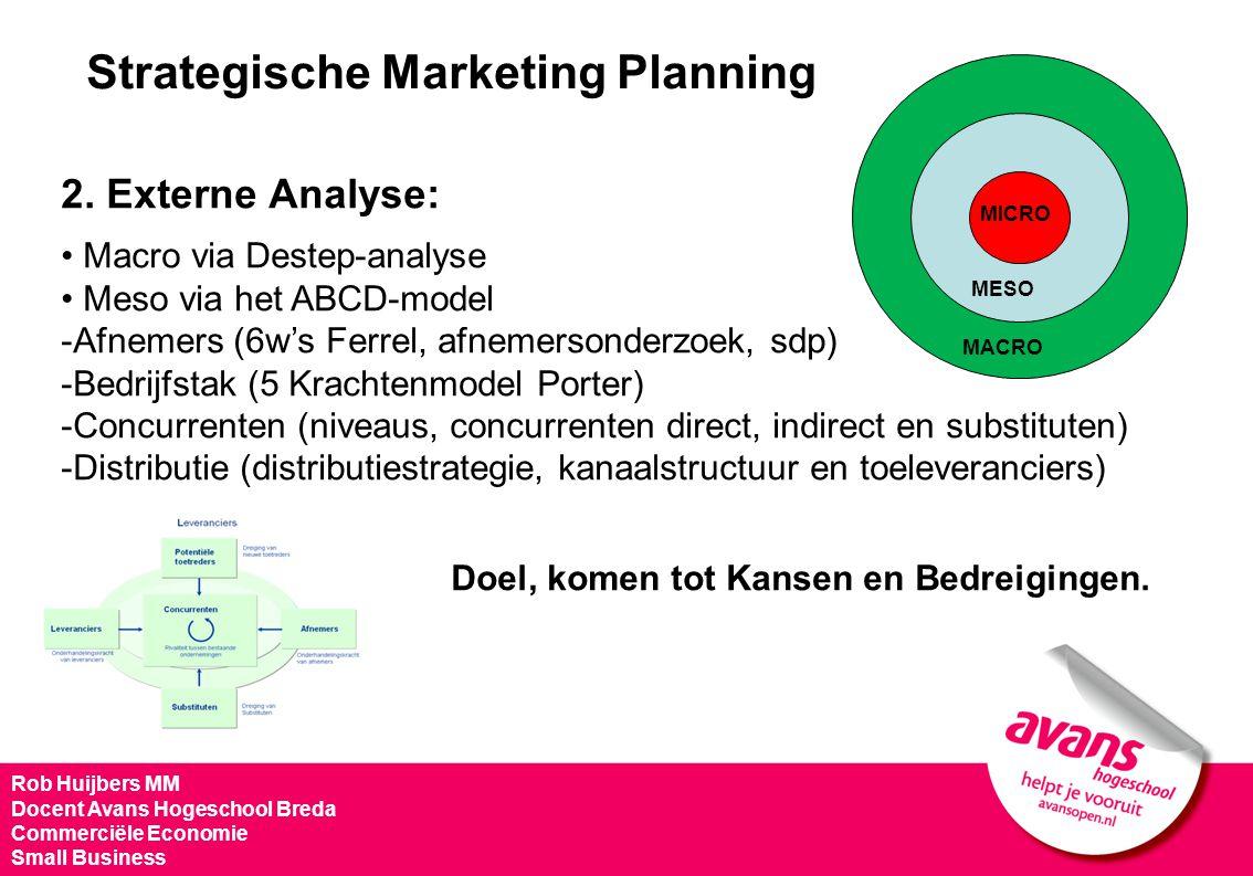 Strategische Marketing Planning 2. Externe Analyse: Macro via Destep-analyse Meso via het ABCD-model -Afnemers (6w's Ferrel, afnemersonderzoek, sdp) -