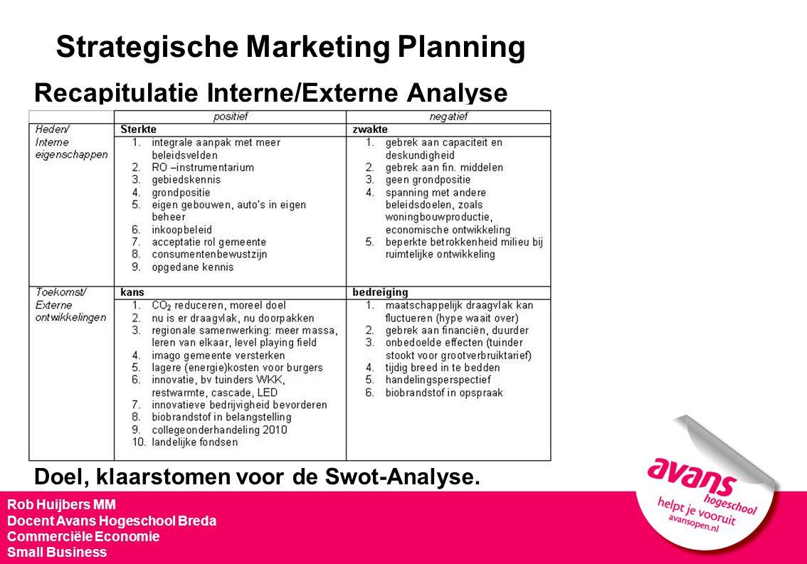 Strategische Marketing Planning Recapitulatie Interne/Externe Analyse Doel, klaarstomen voor de Swot-Analyse. Rob Huijbers MM Docent Avans Hogeschool