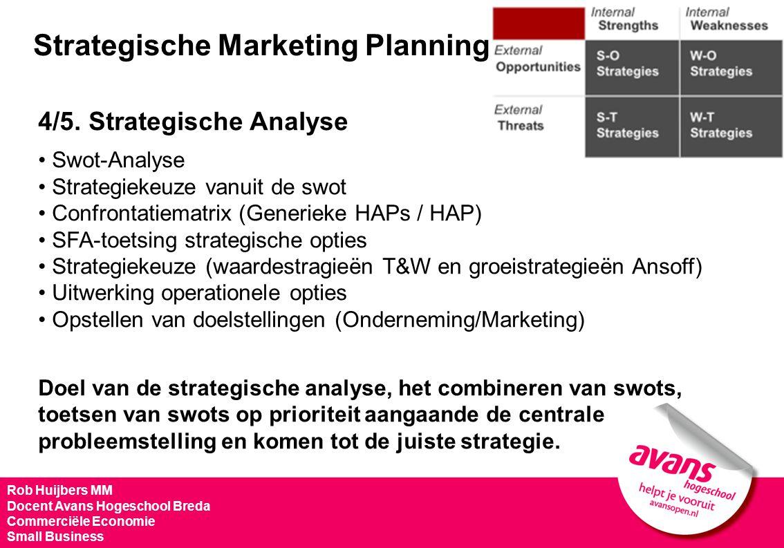 Strategische Marketing Planning 4/5. Strategische Analyse Swot-Analyse Strategiekeuze vanuit de swot Confrontatiematrix (Generieke HAPs / HAP) SFA-toe