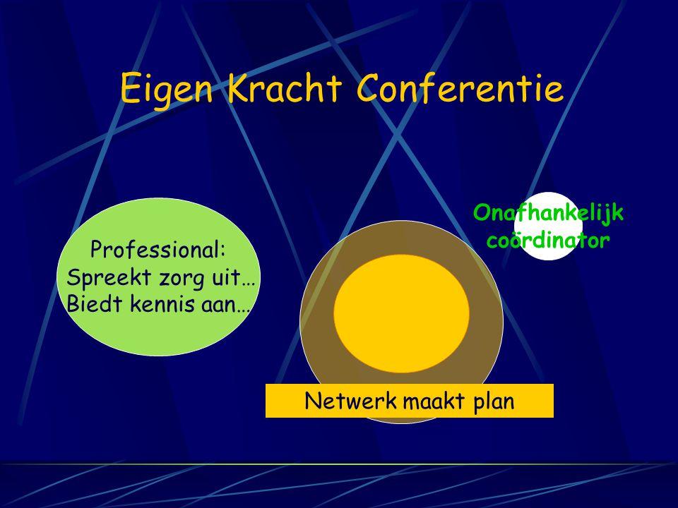 Eigen Kracht Conferentie Professional: Spreekt zorg uit… Biedt kennis aan… Onafhankelijk coördinator Netwerk maakt plan