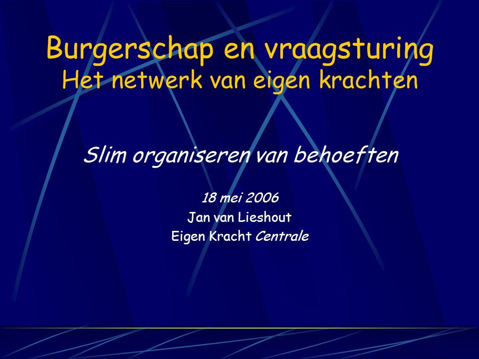 Burgerschap en vraagsturing Het netwerk van eigen krachten Slim organiseren van behoeften 18 mei 2006 Jan van Lieshout Eigen Kracht Centrale