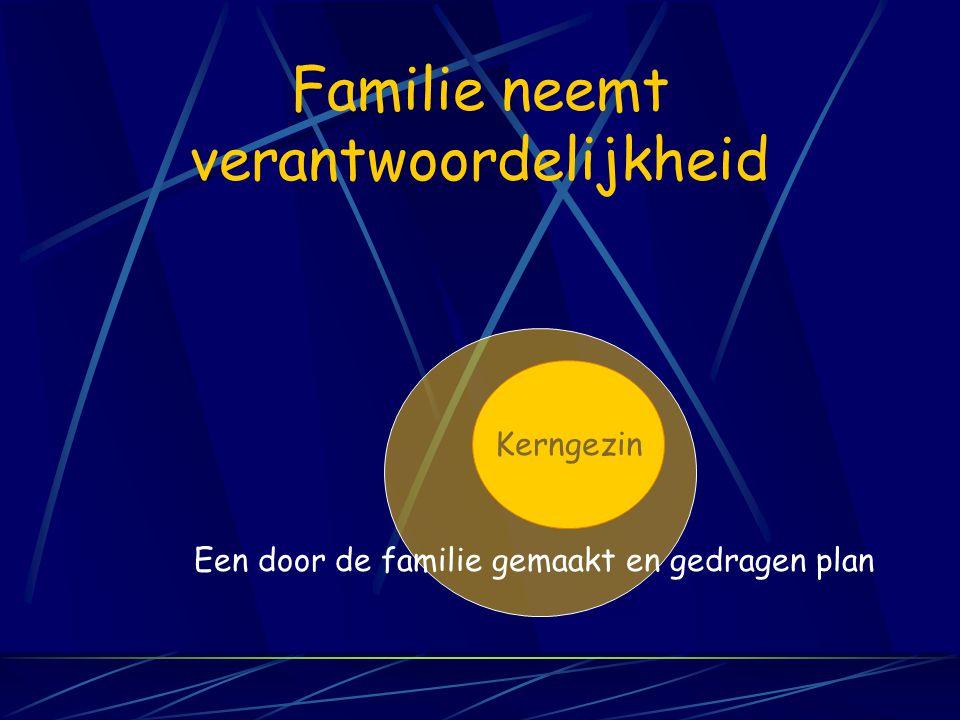 Familie neemt verantwoordelijkheid Kerngezin Een door de familie gemaakt en gedragen plan
