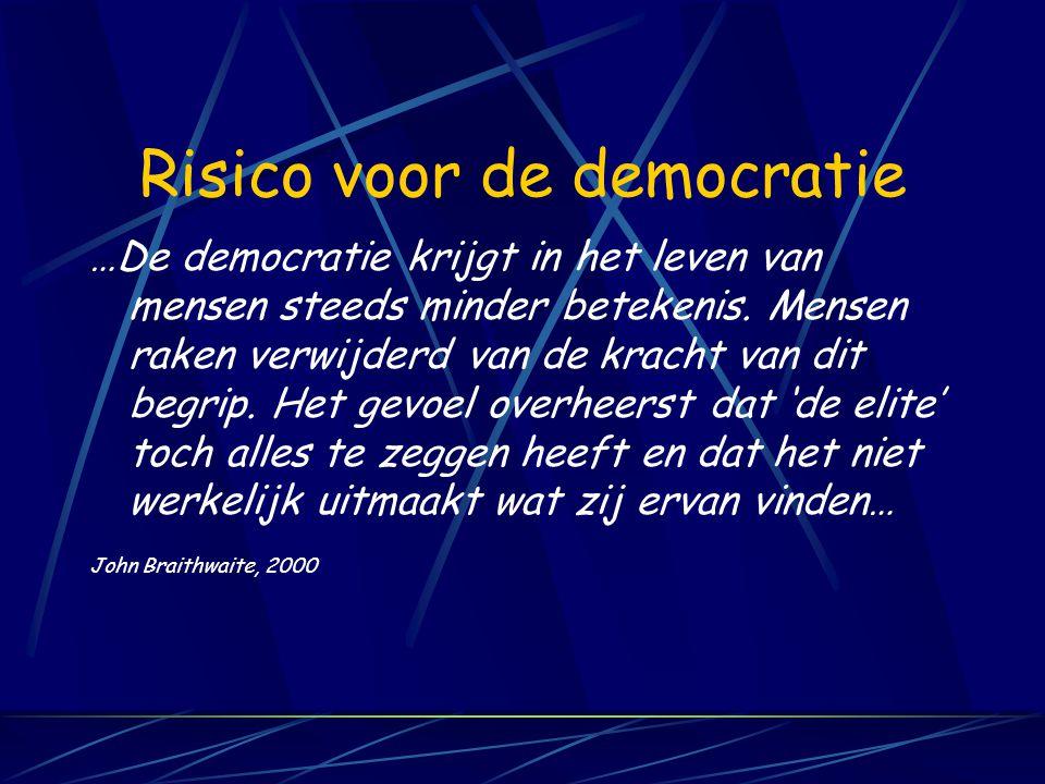 Risico voor de democratie …De democratie krijgt in het leven van mensen steeds minder betekenis.