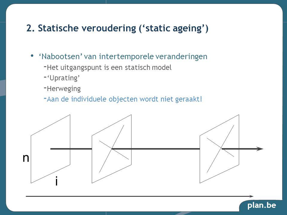 'Nabootsen' van intertemporele veranderingen - Het uitgangspunt is een statisch model - 'Uprating' - Herweging - Aan de individuele objecten wordt niet geraakt.