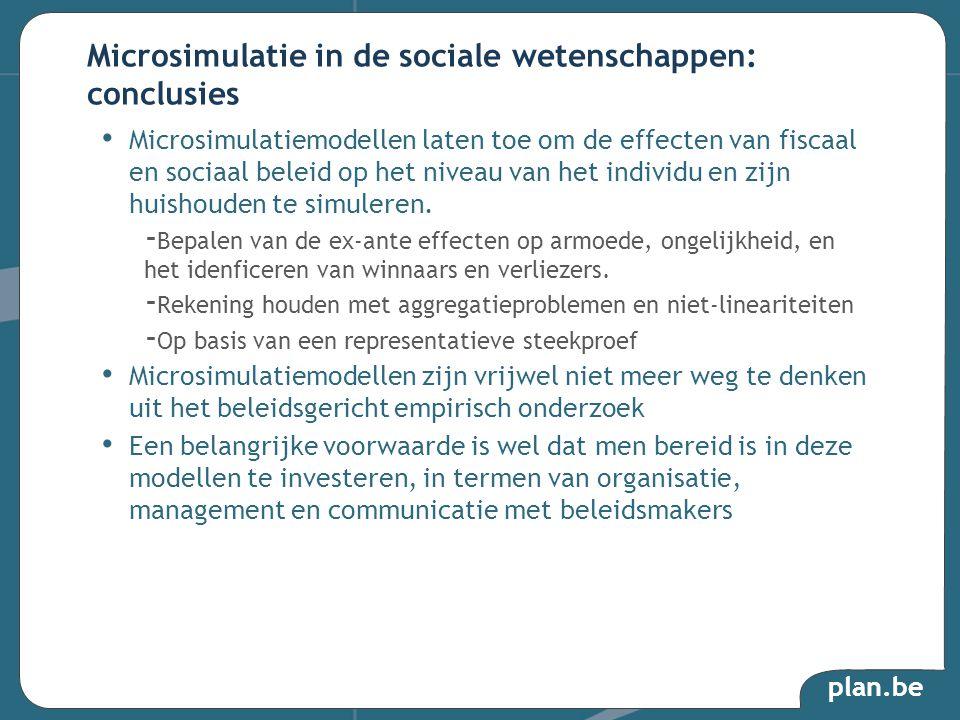 plan.be Microsimulatiemodellen laten toe om de effecten van fiscaal en sociaal beleid op het niveau van het individu en zijn huishouden te simuleren.