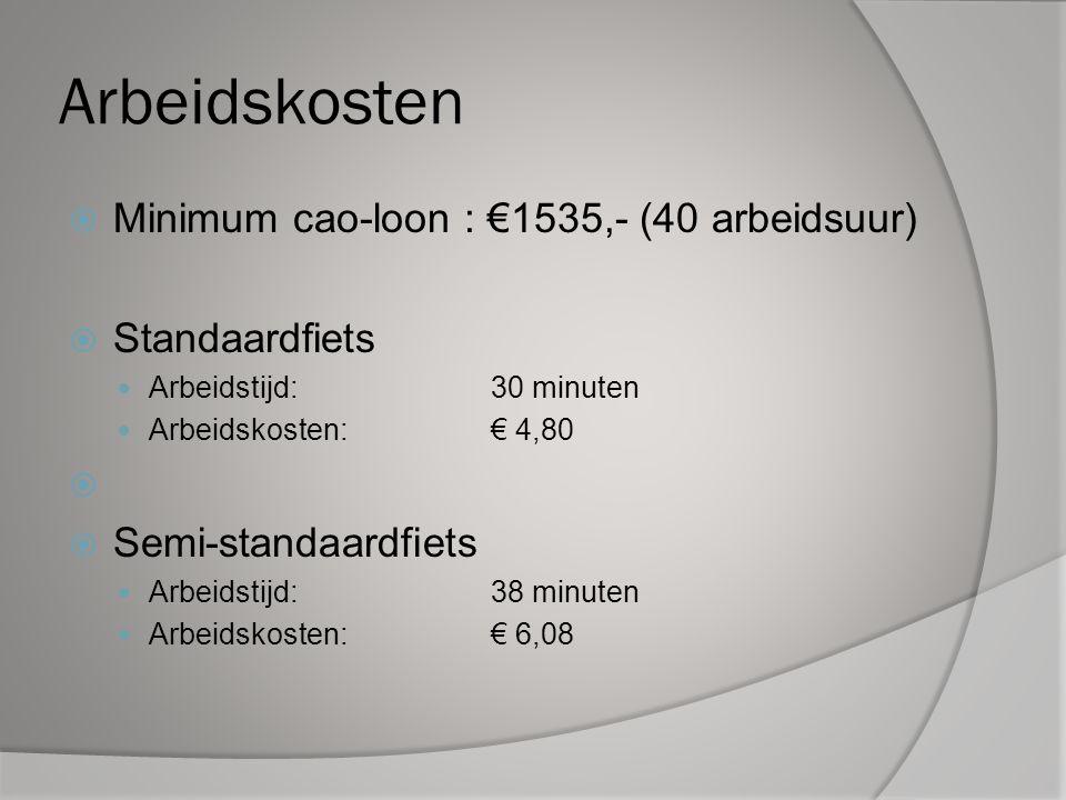 Arbeidskosten  Minimum cao-loon : €1535,- (40 arbeidsuur)  Standaardfiets Arbeidstijd:30 minuten Arbeidskosten:€ 4,80   Semi-standaardfiets Arbeidstijd:38 minuten Arbeidskosten:€ 6,08