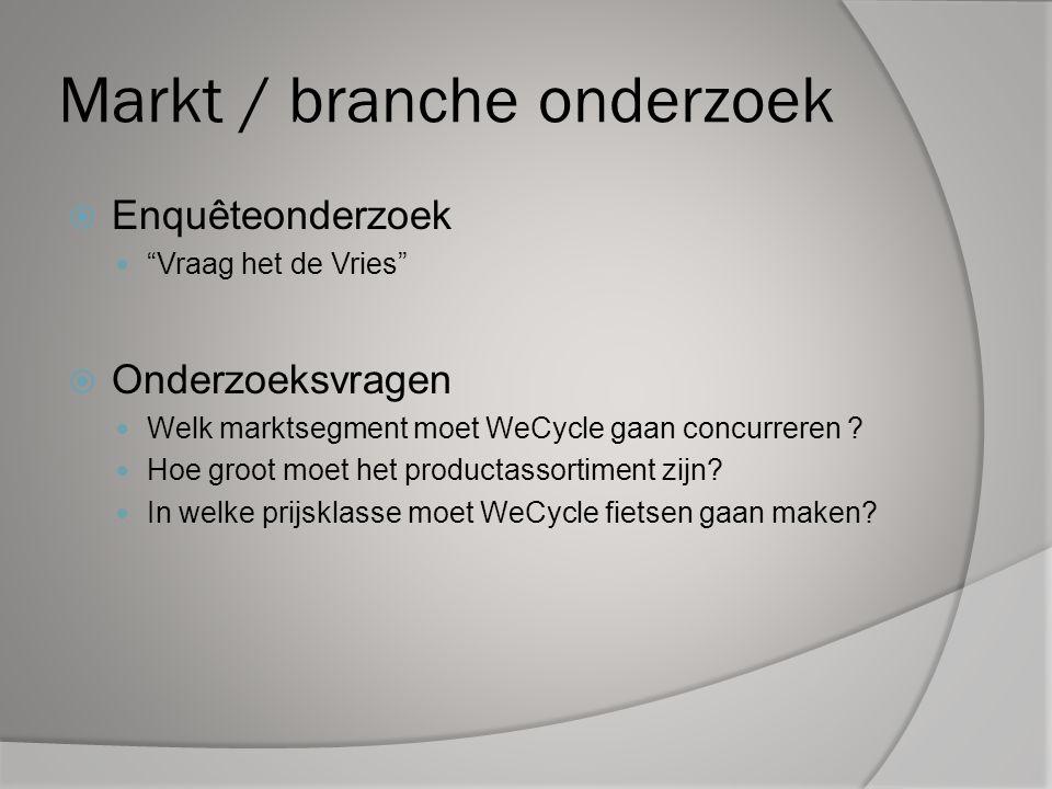 """Markt / branche onderzoek  Enquêteonderzoek """"Vraag het de Vries""""  Onderzoeksvragen Welk marktsegment moet WeCycle gaan concurreren ? Hoe groot moet"""