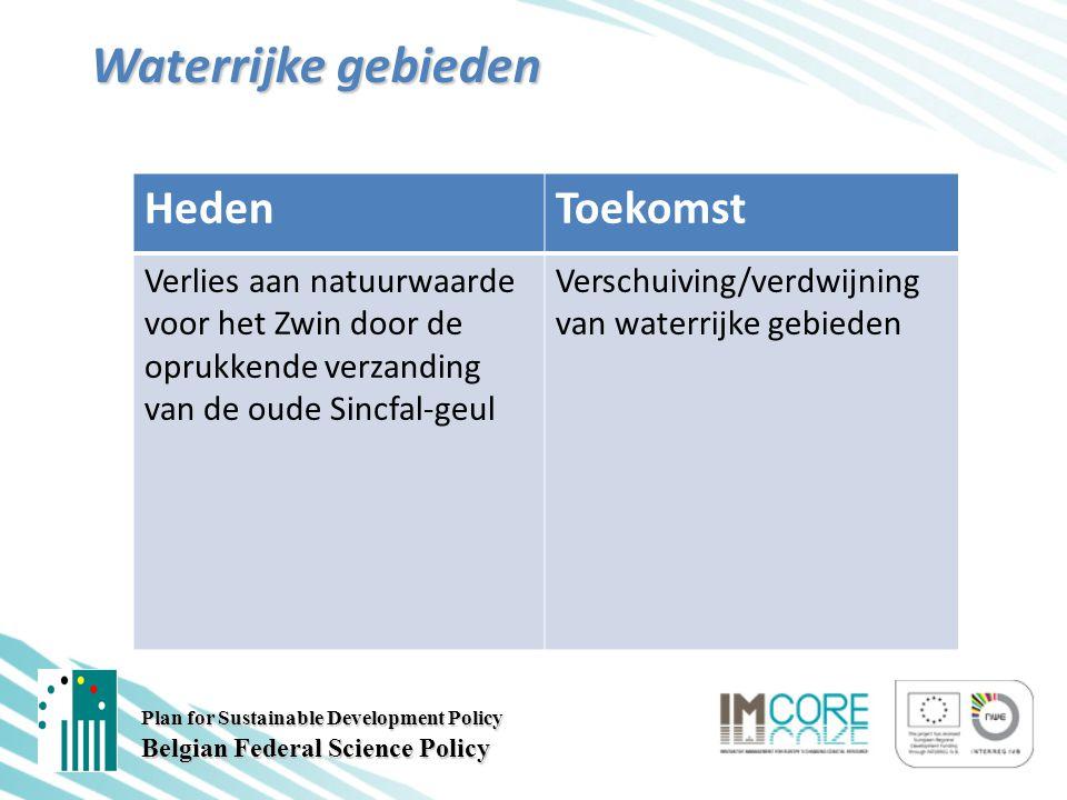 Plan for Sustainable Development Policy Belgian Federal Science Policy Waterrijke gebieden HedenToekomst Verlies aan natuurwaarde voor het Zwin door de oprukkende verzanding van de oude Sincfal-geul Verschuiving/verdwijning van waterrijke gebieden