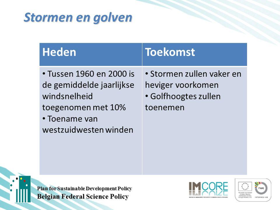 Plan for Sustainable Development Policy Belgian Federal Science Policy Stormen en golven HedenToekomst Tussen 1960 en 2000 is de gemiddelde jaarlijkse windsnelheid toegenomen met 10% Toename van westzuidwesten winden Stormen zullen vaker en heviger voorkomen Golfhoogtes zullen toenemen