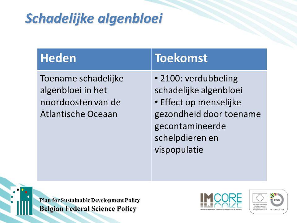 Plan for Sustainable Development Policy Belgian Federal Science Policy Schadelijke algenbloei HedenToekomst Toename schadelijke algenbloei in het noor