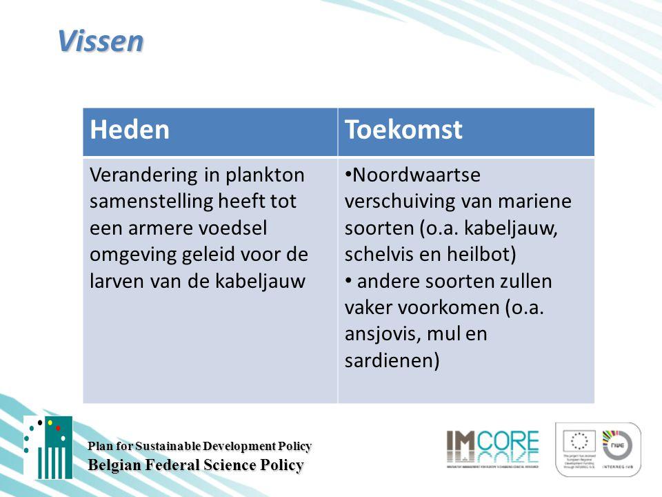 Plan for Sustainable Development Policy Belgian Federal Science Policy Vissen HedenToekomst Verandering in plankton samenstelling heeft tot een armere voedsel omgeving geleid voor de larven van de kabeljauw Noordwaartse verschuiving van mariene soorten (o.a.