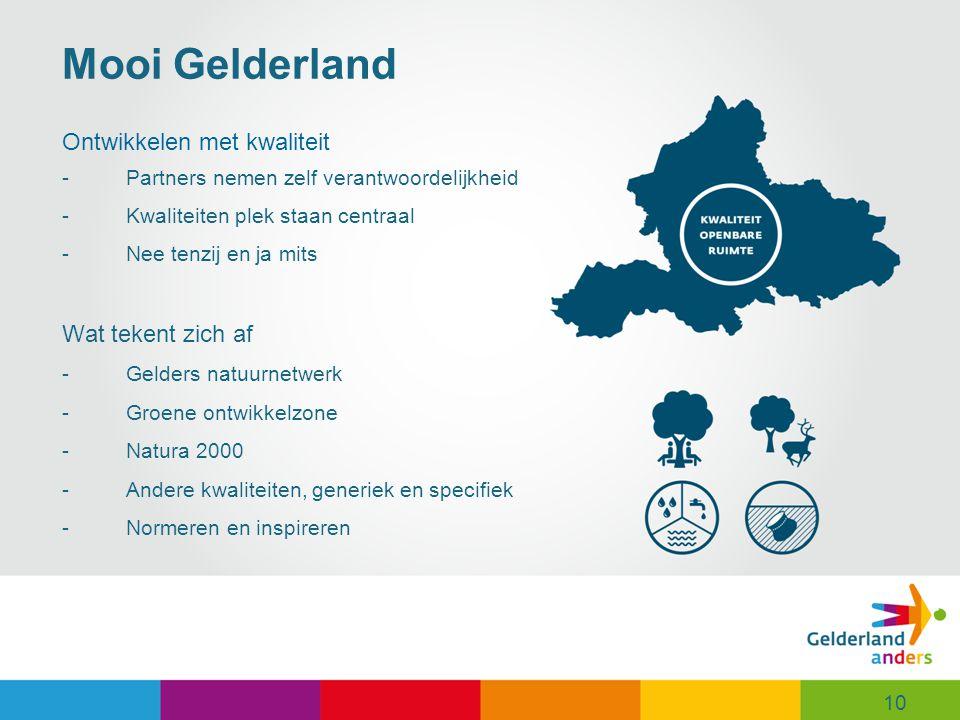 10 Mooi Gelderland Ontwikkelen met kwaliteit -Partners nemen zelf verantwoordelijkheid -Kwaliteiten plek staan centraal -Nee tenzij en ja mits Wat tekent zich af -Gelders natuurnetwerk -Groene ontwikkelzone -Natura 2000 -Andere kwaliteiten, generiek en specifiek -Normeren en inspireren