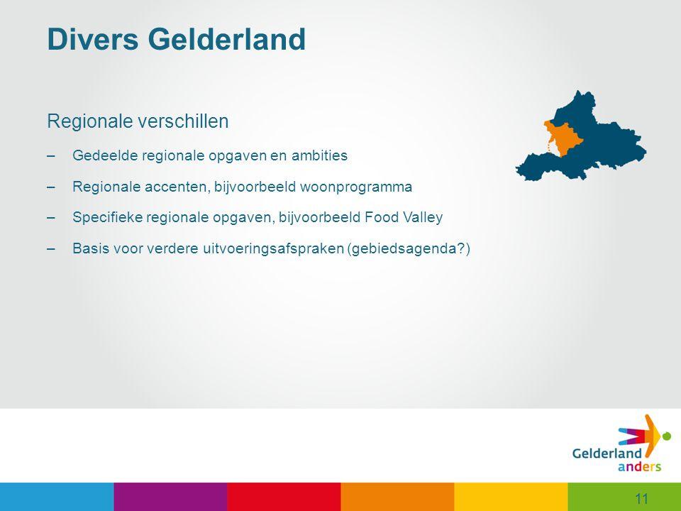 11 Divers Gelderland Regionale verschillen –Gedeelde regionale opgaven en ambities –Regionale accenten, bijvoorbeeld woonprogramma –Specifieke regionale opgaven, bijvoorbeeld Food Valley –Basis voor verdere uitvoeringsafspraken (gebiedsagenda?) 11