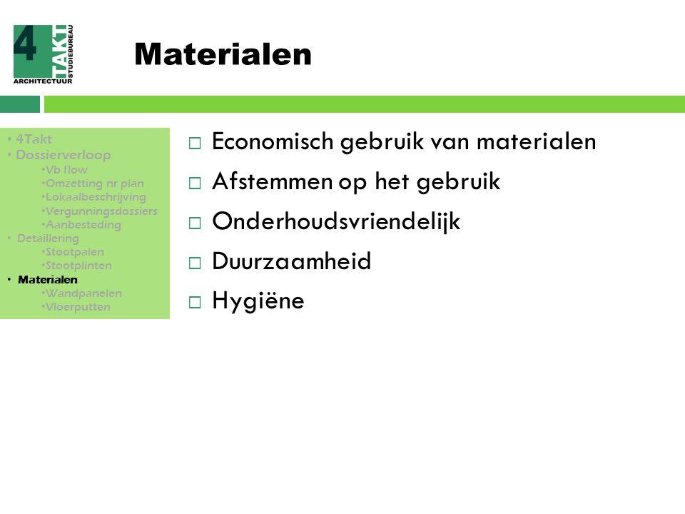 Materialen  Economisch gebruik van materialen  Afstemmen op het gebruik  Onderhoudsvriendelijk  Duurzaamheid  Hygiëne 4Takt Dossierverloop Vb flo