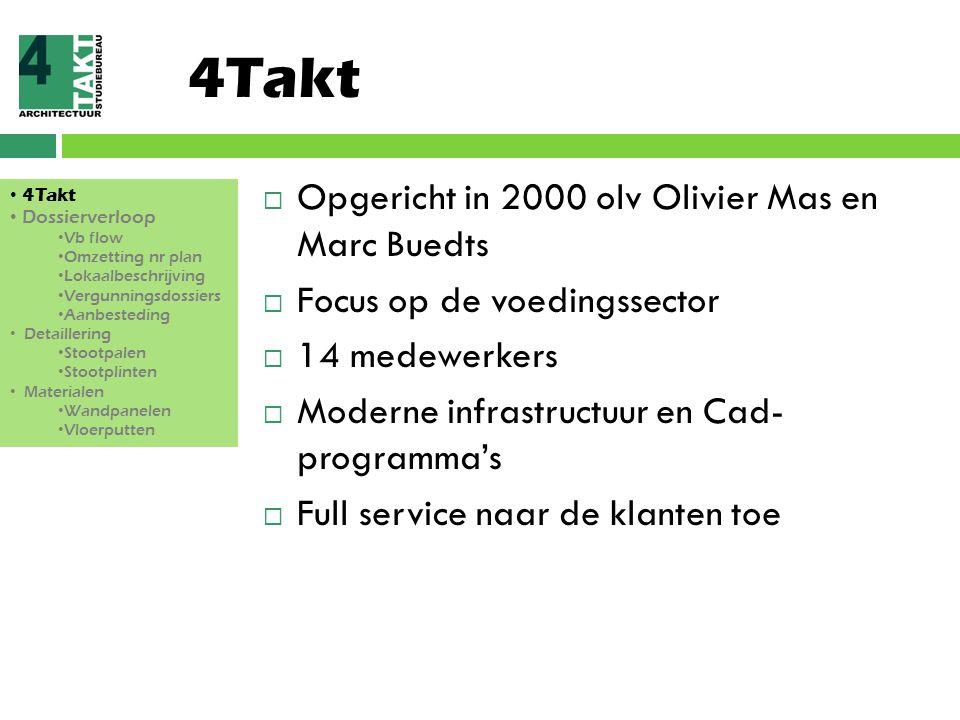 4Takt  Opgericht in 2000 olv Olivier Mas en Marc Buedts  Focus op de voedingssector  14 medewerkers  Moderne infrastructuur en Cad- programma's 