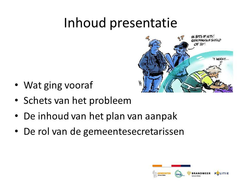 Inhoud presentatie Wat ging vooraf Schets van het probleem De inhoud van het plan van aanpak De rol van de gemeentesecretarissen
