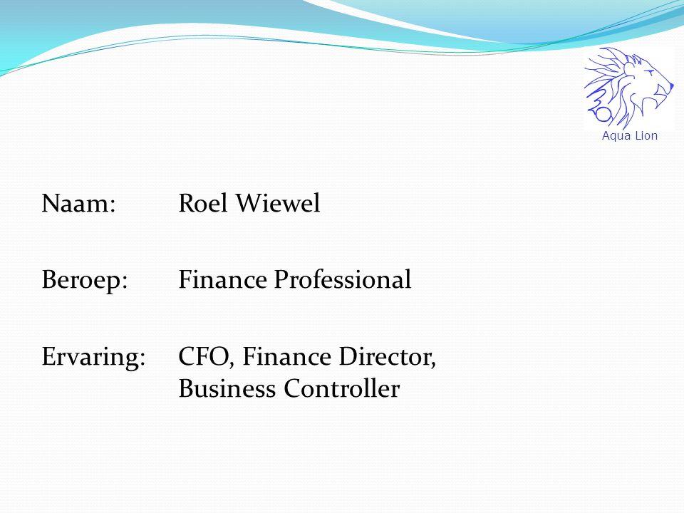 Naam: Roel Wiewel Beroep: Finance Professional Ervaring: CFO, Finance Director, Business Controller Aqua Lion