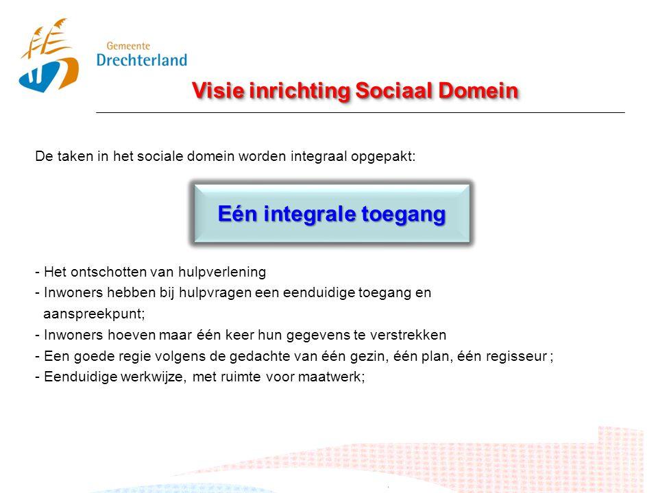 Visie inrichting Sociaal Domein De taken in het sociale domein worden integraal opgepakt: - Het ontschotten van hulpverlening - Inwoners hebben bij hu