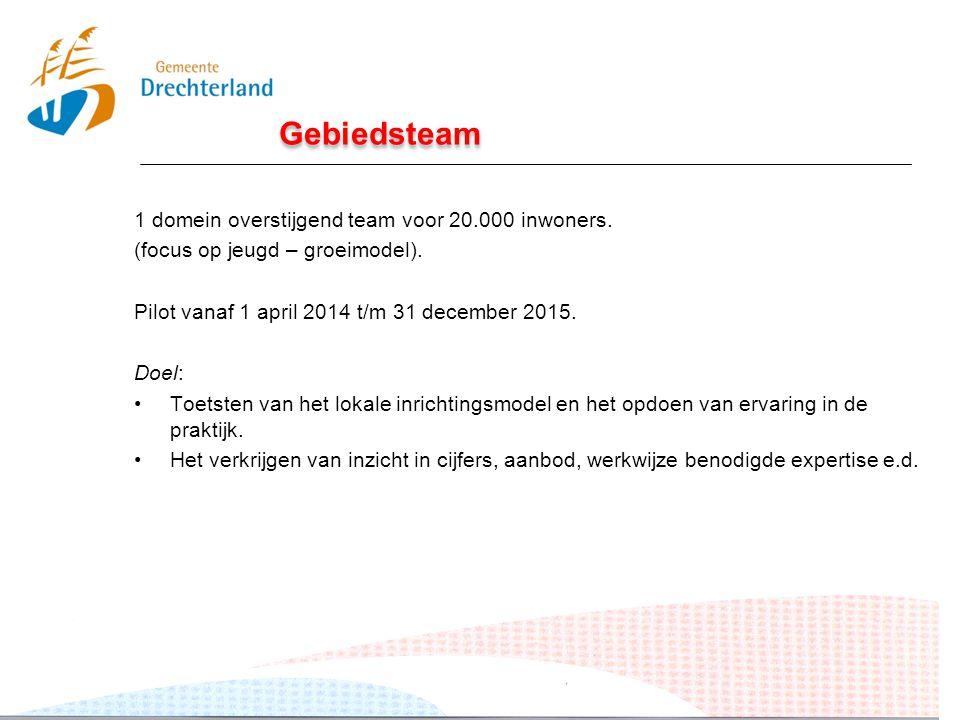 Gebiedsteam 1 domein overstijgend team voor 20.000 inwoners. (focus op jeugd – groeimodel). Pilot vanaf 1 april 2014 t/m 31 december 2015. Doel: Toets