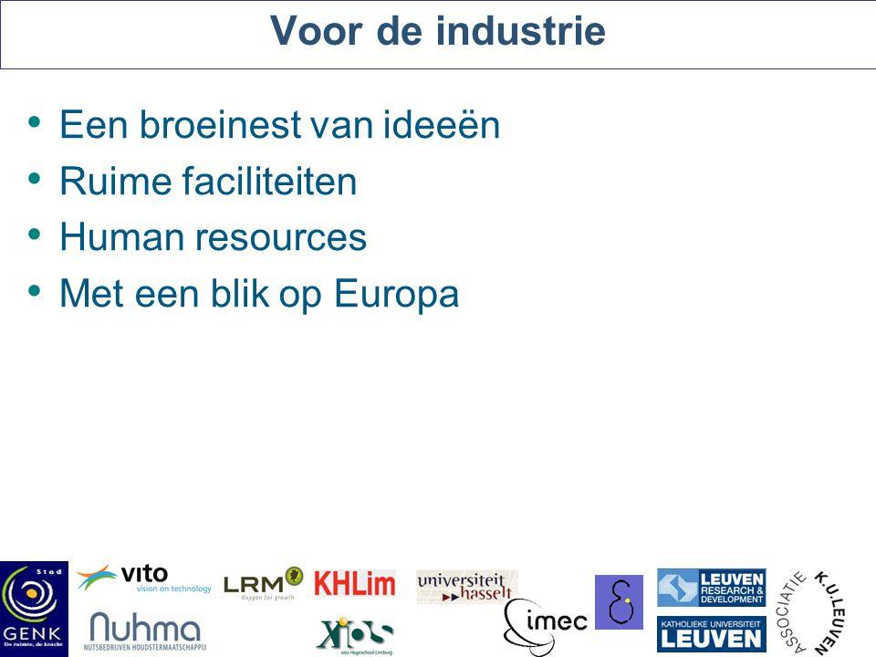 Voor de industrie Een broeinest van ideeën Ruime faciliteiten Human resources Met een blik op Europa /