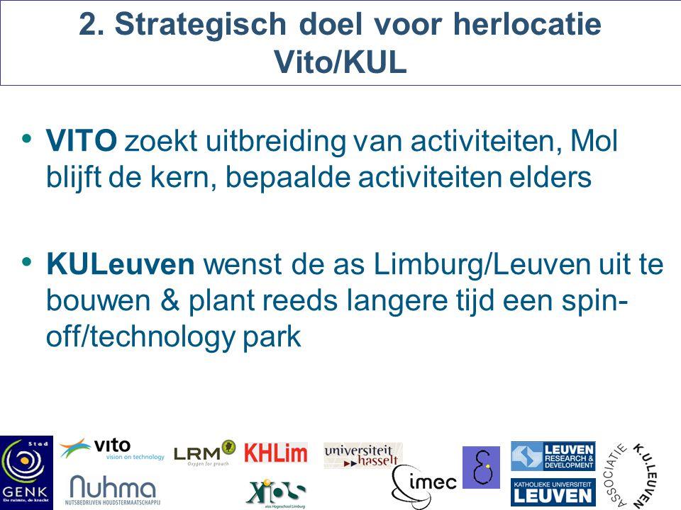 2. Strategisch doel voor herlocatie Vito/KUL VITO zoekt uitbreiding van activiteiten, Mol blijft de kern, bepaalde activiteiten elders KULeuven wenst