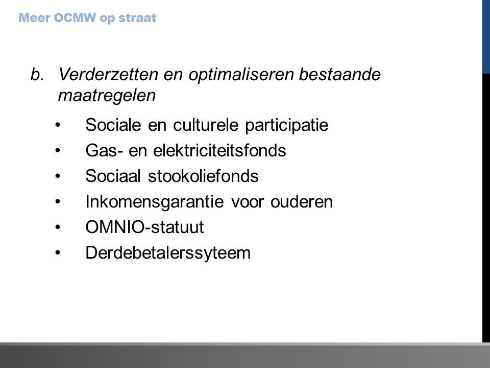 b.Verderzetten en optimaliseren bestaande maatregelen Sociale en culturele participatie Gas- en elektriciteitsfonds Sociaal stookoliefonds Inkomensgarantie voor ouderen OMNIO-statuut Derdebetalerssyteem Meer OCMW op straat