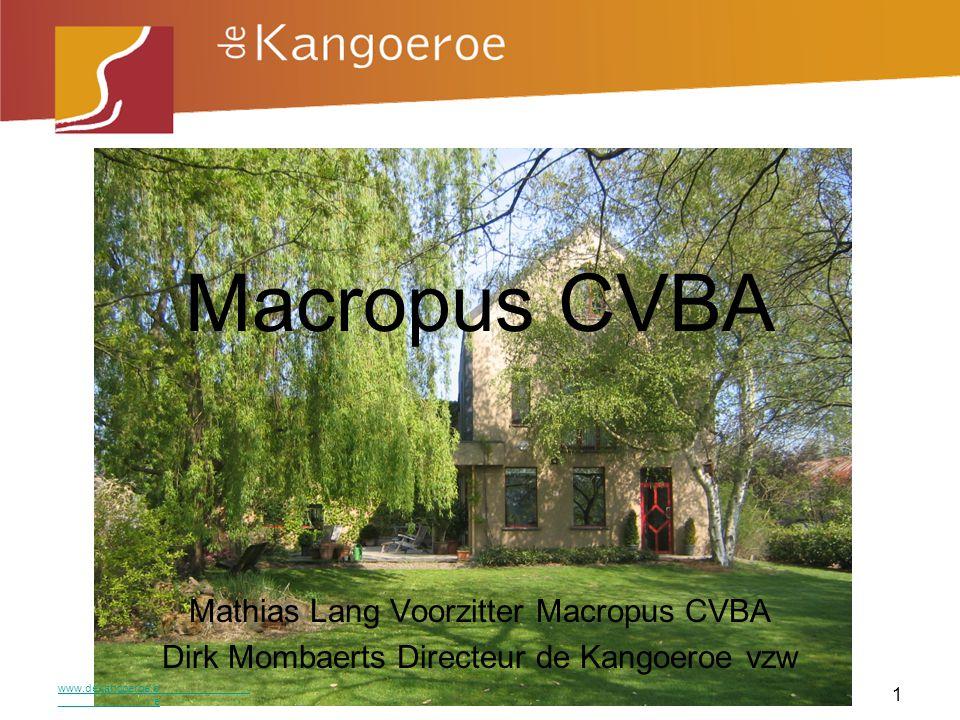 Problemen en oplossingen Project Macropus cvba Overzicht aandeelhouders Effecten Meerwaarde www.dekangoeroe.be 2