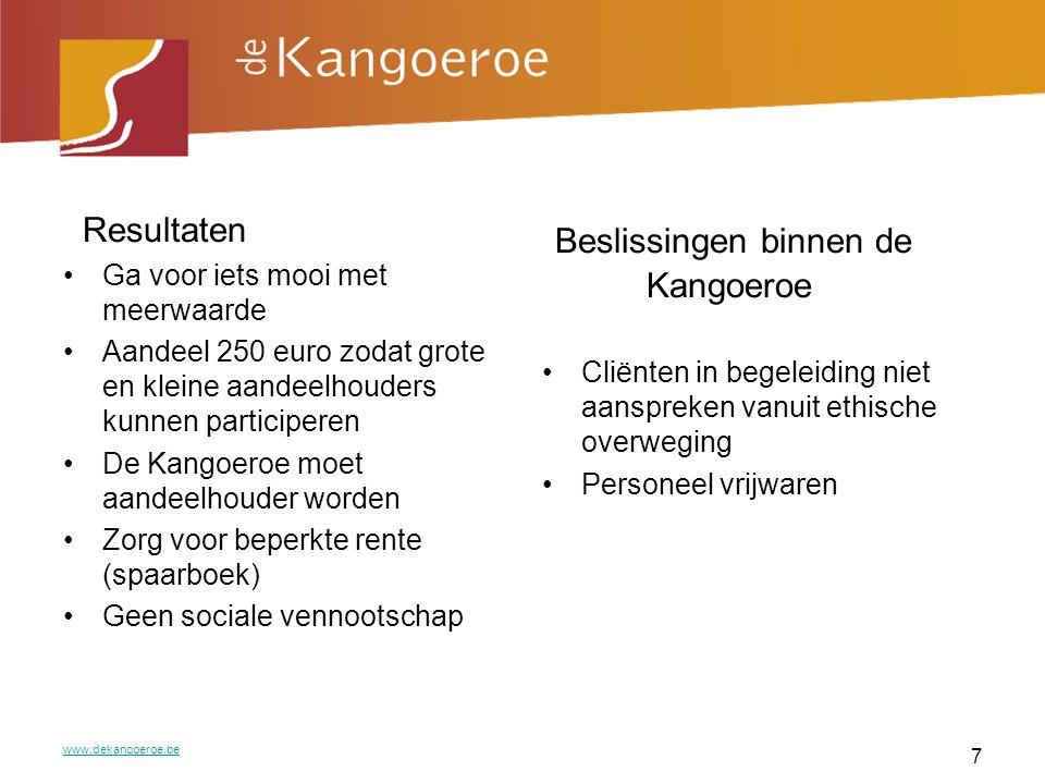 Realisatie Goed project Financieel plan Informatieavonden met een zekere standing www.dekangoeroe.be 8