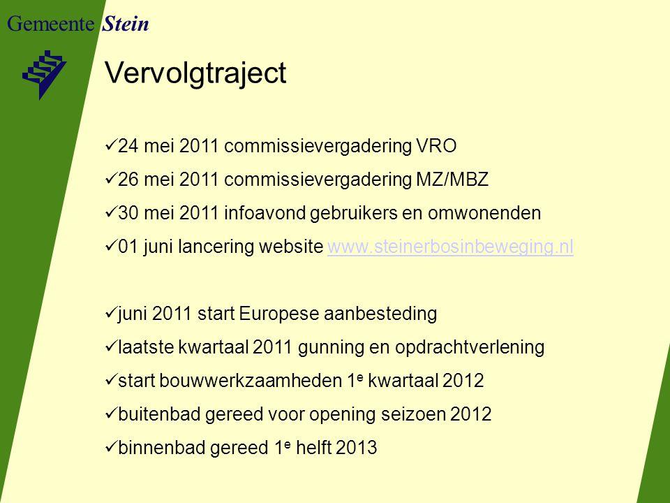 Gemeente Stein Vervolgtraject 24 mei 2011 commissievergadering VRO 26 mei 2011 commissievergadering MZ/MBZ 30 mei 2011 infoavond gebruikers en omwonen