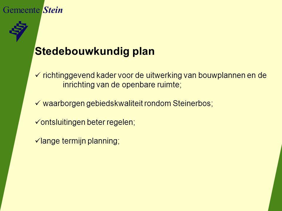 Gemeente Stein Stedebouwkundig plan richtinggevend kader voor de uitwerking van bouwplannen en de inrichting van de openbare ruimte; waarborgen gebiedskwaliteit rondom Steinerbos; ontsluitingen beter regelen; lange termijn planning;
