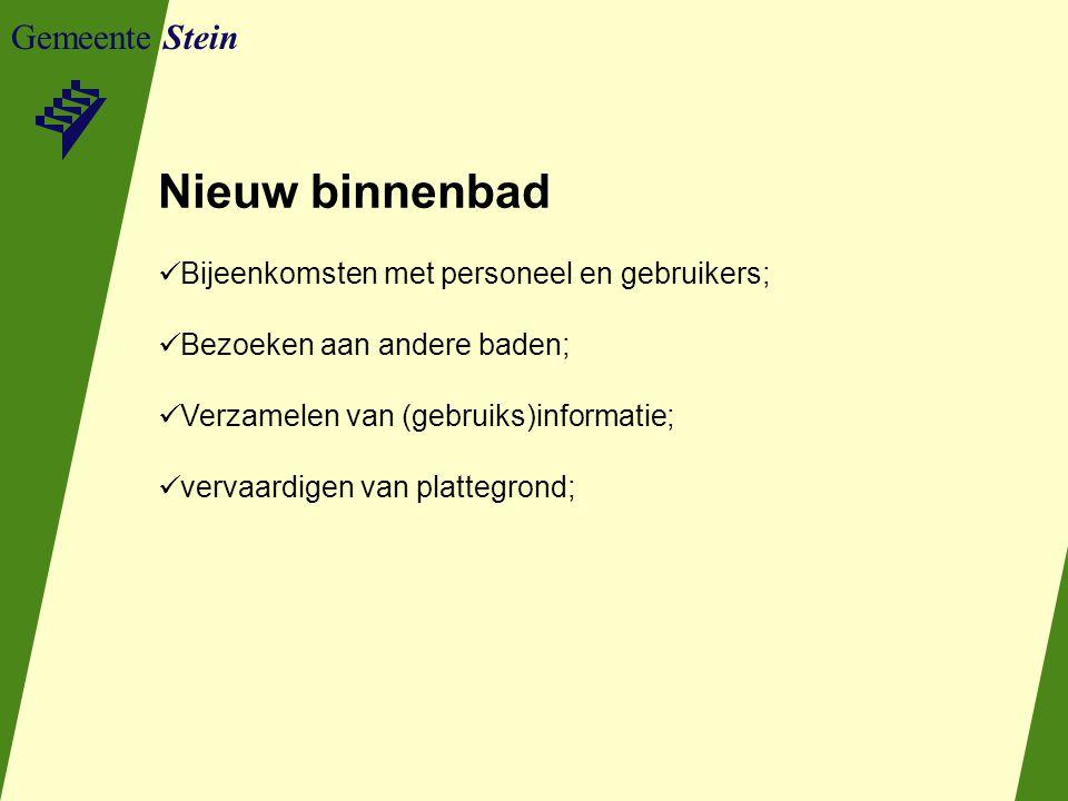 Gemeente Stein Nieuw binnenbad Bijeenkomsten met personeel en gebruikers; Bezoeken aan andere baden; Verzamelen van (gebruiks)informatie; vervaardigen