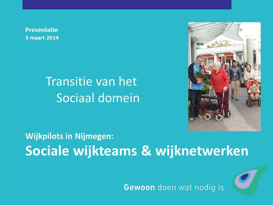 Presentatie 3 maart 2014 Wijkpilots in Nijmegen: Sociale wijkteams & wijknetwerken Transitie van het Sociaal domein