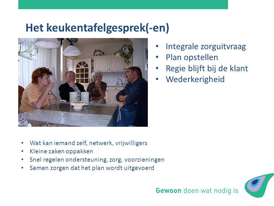 Het keukentafelgesprek(-en) Integrale zorguitvraag Plan opstellen Regie blijft bij de klant Wederkerigheid Wat kan iemand zelf, netwerk, vrijwilligers