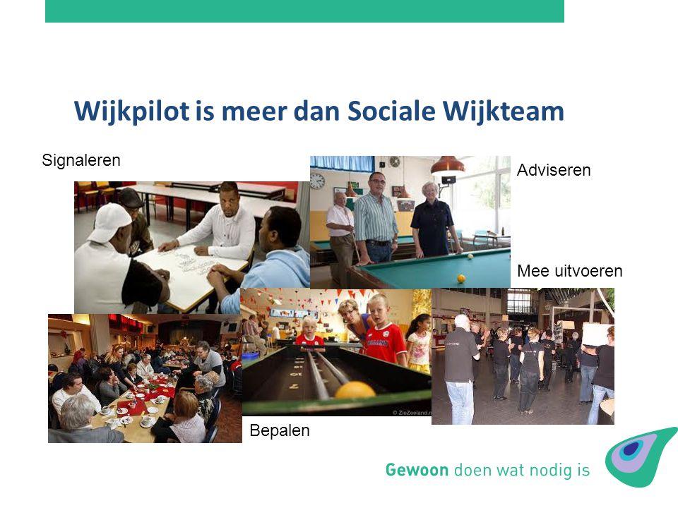 Wijkpilot is meer dan Sociale Wijkteam Signaleren Adviseren Mee uitvoeren Bepalen