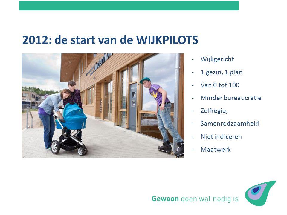 2012: de start van de WIJKPILOTS Budgetaanvraag NIM - Tandem -Wijkgericht -1 gezin, 1 plan -Van 0 tot 100 -Minder bureaucratie -Zelfregie, -Samenredza