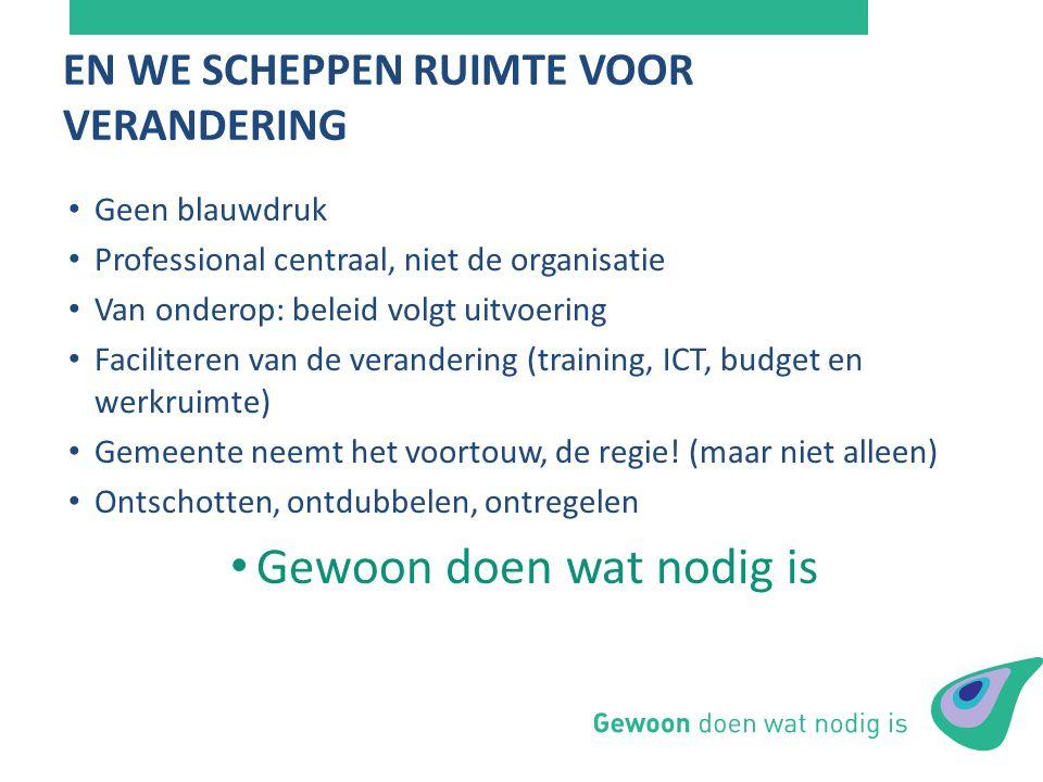 Geen blauwdruk Professional centraal, niet de organisatie Van onderop: beleid volgt uitvoering Faciliteren van de verandering (training, ICT, budget e