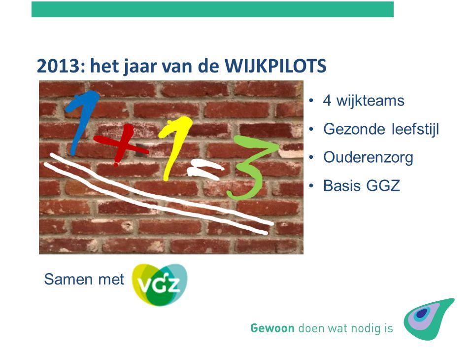 2013: het jaar van de WIJKPILOTS Budgetaanvraag NIM - Tandem 4 wijkteams Gezonde leefstijl Ouderenzorg Basis GGZ Samen met VGZ