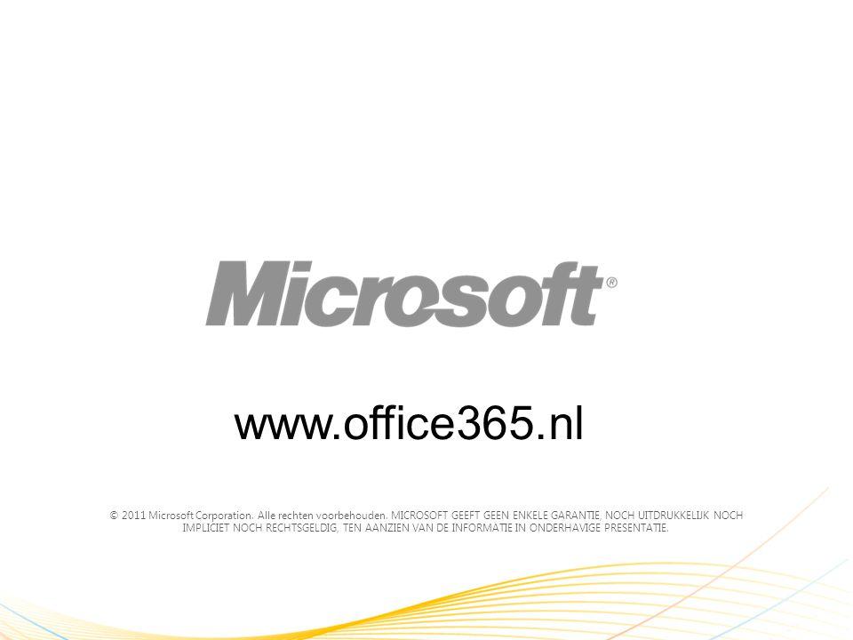 © 2011 Microsoft Corporation. Alle rechten voorbehouden. MICROSOFT GEEFT GEEN ENKELE GARANTIE, NOCH UITDRUKKELIJK NOCH IMPLICIET NOCH RECHTSGELDIG, TE