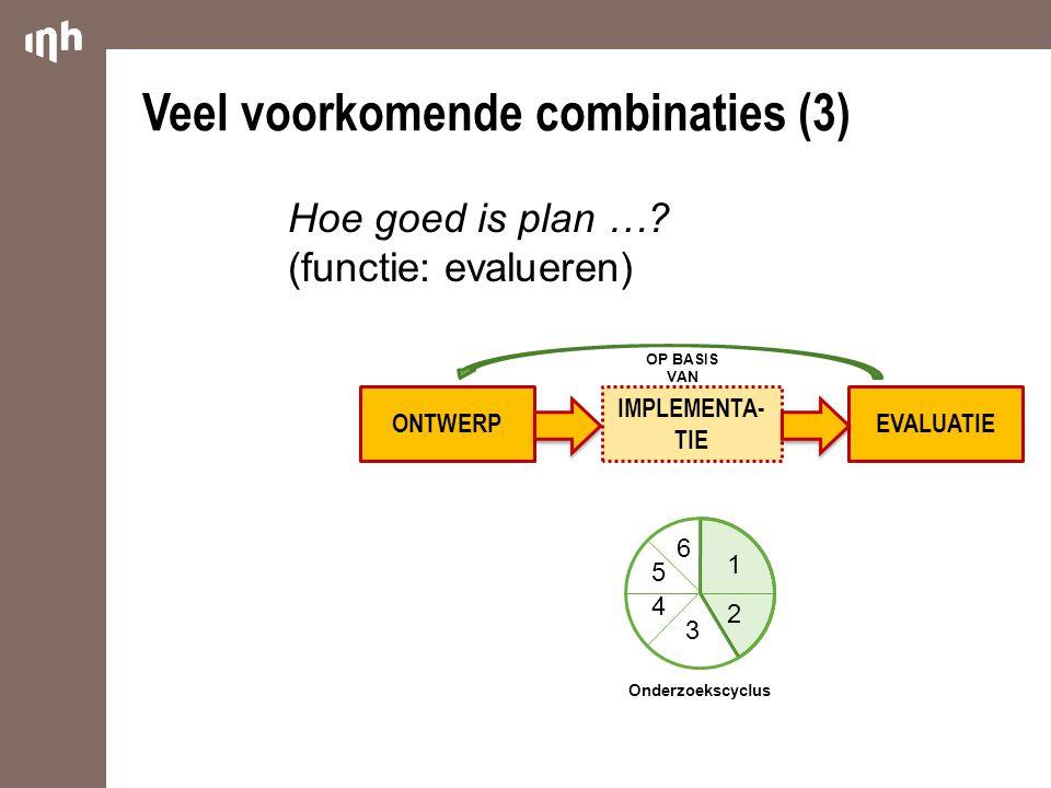 ONTWERP IMPLEMENTA- TIE EVALUATIE Veel voorkomende combinaties (3) OP BASIS VAN 1 2 3 4 5 6 Onderzoekscyclus Hoe goed is plan …? (functie: evalueren)