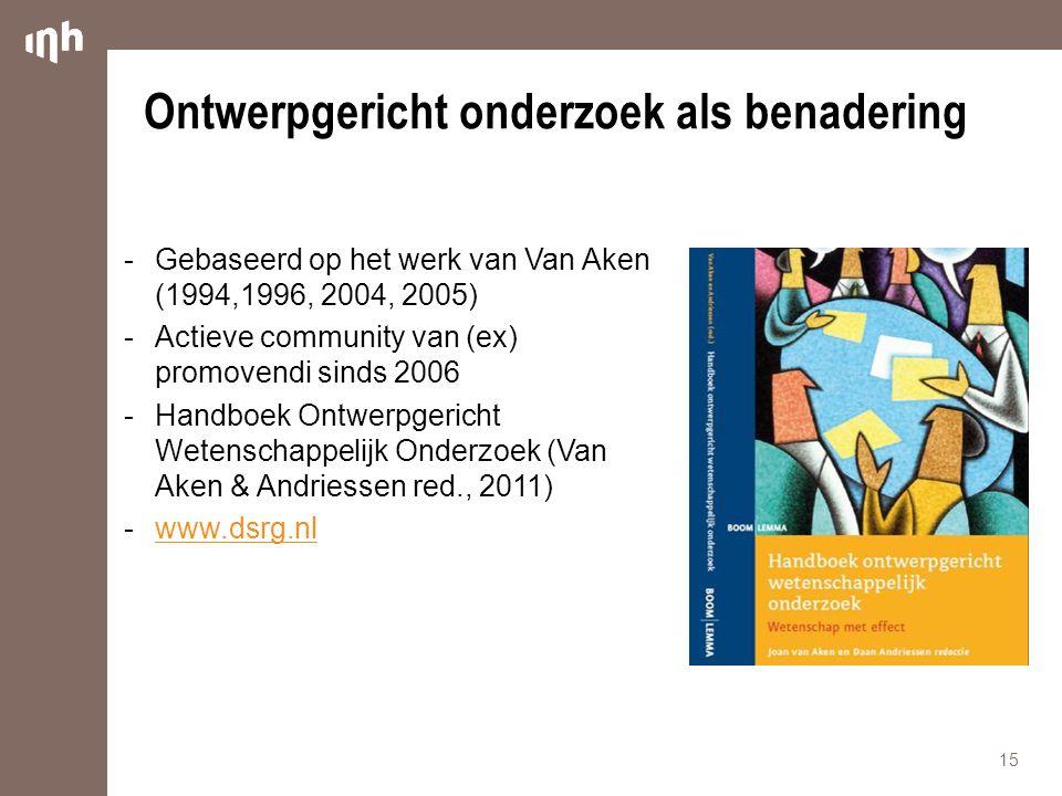  Gebaseerd op het werk van Van Aken (1994,1996, 2004, 2005)  Actieve community van (ex) promovendi sinds 2006  Handboek Ontwerpgericht Wetenschappe